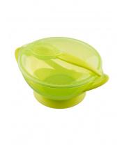 Dětská miska s přísavkou a se lžičkou Akuku zelená