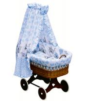 Scarlett Proutěný košík na miminko s nebesy Scarlett Kulíšek - modrá