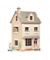 Tender Leaf Toys Dřevěný městský domeček pro panenku Foxtail Villa 12 dílů, vybavený nábytkem, výška 71 cm