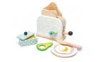 Tender Leaf Toys Dřevěný topinkovač s avokádem Breakfast toaster set chleby, vajíčko a nádobí