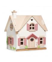 Tender Leaf Toys Dřevěný venkovský domeček pro panenku Cottontail Cottage 13 dílů se stylovým retro nábytkem, výška 48 cm VYSTAVENÝ KUS