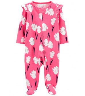 CARTER'S Overal zip oboustranný Pink Flora dívka NB