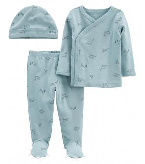 CARTER'S Set 3dílný tričko dl. rukáv, polodupačky, čepice Blue Dino chlapec LBB PRE, vel. 46