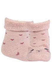 WOLA Ponožky kojenecké froté s oušky holka Rose 18-20