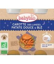 2x BABYBIO Večerní menu mrkev se sladkými brambory a pšenicí (200 g)
