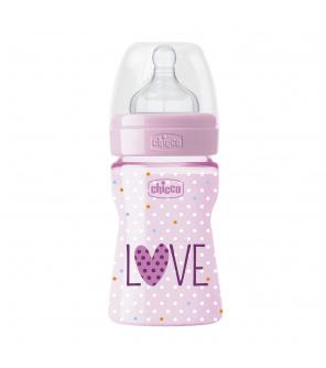 CHICCO Láhev kojenecká WB LOVE silikon 150 ml dívka/chlapec 0m+