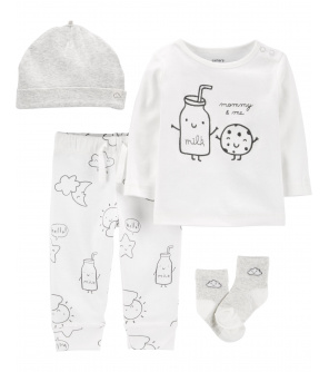 CARTER'S Set 4dílny tričko dl. rukáv, tepláky, ponožky, čepice Milk neutrál LBB PRE, vel. 46