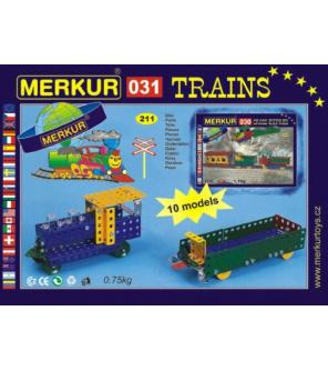 Stavebnice Merkur 031 Železniční modely 10 modelů 211ks v krabici 26x18x5cm