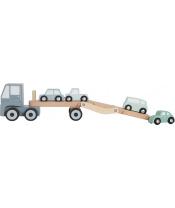 Tiamo Little Dutch Truck dřevěný autopřepravník + 4 autíčka