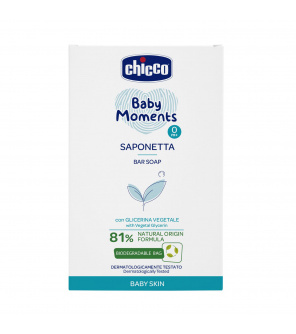 CHICCO Mýdlo na ruce tuhé s rostlinným glycerínem Baby Moments 81 % přírodních složek 100 g