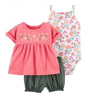 CARTER'S Set 3dílný body tílko, tunika, kalhoty kr. Pink dívka NB, vel. 56