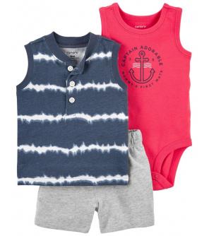 CARTER'S Set 3dílný body tílko, tričko bez rukávů, kalhoty kr. Blue Ty chlapec 6 m, vel. 68