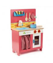 Tender Leaf Toys Dřevěná kuchyňka Cherry Pie  Creative Play 9dílná souprava s varnou deskou, dřezem a doplňky