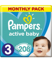 Měsíční zásoba plenek Active Baby 3 MIDI 6-10kg 208ks Pampers