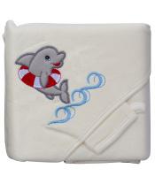 Scarlett Froté ručník - Scarlett delfín s kapucí - béžová