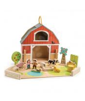 Tender Leaf Toys Dřevěná farma s traktorem Little Barn 17 doplňků s postavičkami a zvířátky