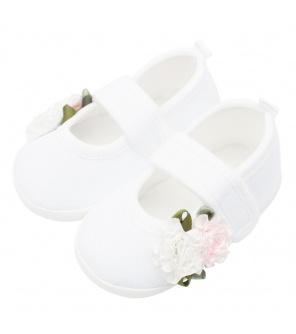 Kojenecké capáčky New Baby Linen bílé 3-6 m roses