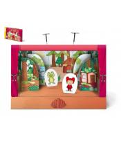 Divadlo pohádkové loutkové papírové s oponou 6ks postaviček v krabici 34x23x4cm