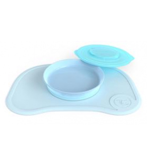 TWISTSHAKE Protiskluzová podložka Click Mat + talíř (6m+) pastelově modrá