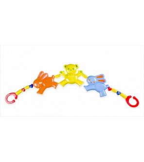 Řetěz/zábrana medvěd zajíc plast 43cm asst v sáčku 0m+