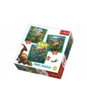 Puzzle 3v1 Svět Dinosaurů 20x19,5cm v krabici 28x28x6cm