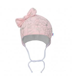 Kojenecká bavlněná čepička s mašličkou New Baby NUNU růžová