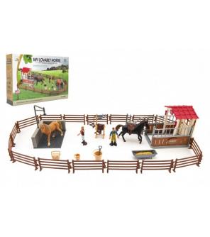 Výběh/Ohrada pro koně + ošetřovatelé + kůň 2ks plast s příslušenstvím v krabici 39x27x8,5cm