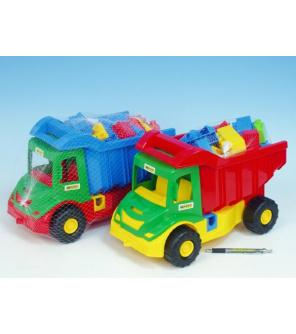 Auto multitruck s kostkami plast 38cm asst 2 barvy v síťce 12m+ Wader