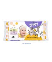 BELLA HAPPY BABY Vlhčené ubrousky mléko a med 64 ks