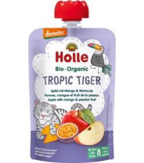 HOLLE Tropic Tiger Bio ovocné pyré jablko, mango a maracuja, 100 g (8 m+)
