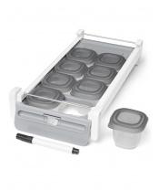 Držák do chladničky s označovačem a stohovatelných nádobkami na jídlo 8 x 60ml