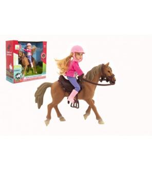 Kůň + panenka žokejka plast 20cm v krabici 23x23x9,5cm