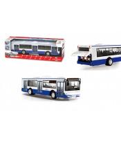Autobus česky mluvící plast 28cm modrý volný chod na bat. se světem se zvukem v krab. 33x11x10cm