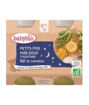 2x BABYBIO Večerní menu hrášek sladká kukuřice rýže (200 g)