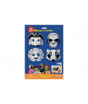 Maska škraboška 3D papírová 4ks pirát, superhrdina, lev, mýval  karneval v sáčku 22x32,5x2cm