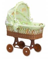 Scarlett Proutěný košík na miminko s boudičkou Mráček - zelená
