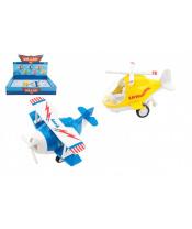 Letadlo/vrtulník kov/plast 10-11cm na zpětné natažení 6 barev 12ks v boxu