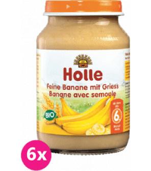 6x HOLLE Bio Jemné banány s krupicí - ovocný příkrm, 190 g