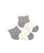 WOLA Ponožky kojenecké bavlněné se vzorem holka White Grey 12-14