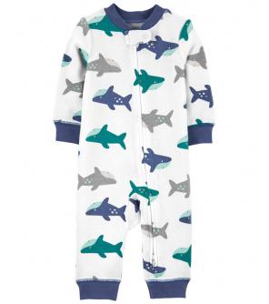CARTER'S Overal bez nožiček zip Sleep & Play Shark chlapec 3 m, vel. 62