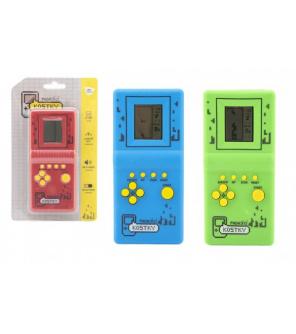 Digitální hra Padající kostky hlavolam plast 7x14,5cm 3 barvy na baterie se zvukem na kartě