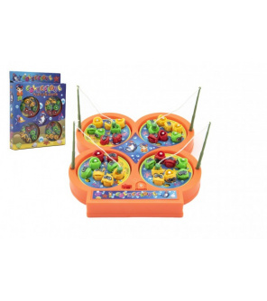 Hra ryby/rybář + pruty 4ks magnetická plast na baterie 2 barvy v krabici 18x23x3cm