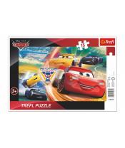 Puzzle deskové Cars/Boj o vítězství 33x23cm 15 dílků
