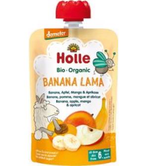 HOLLE Banana lama Bio ovocné pyré banán, jablko, mango, meruňka, 100 g (6 m+)