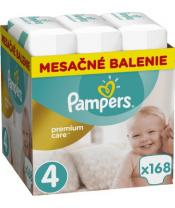 Měsíční zásoba plenek Premium Care 4 MAXI 9-14kg 168ks Pampers