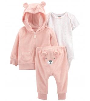 CARTER'S Set 3dílný mikina, tepláky, body kr. rukáv Pink Bear dívka LBB 12m, vel. 80