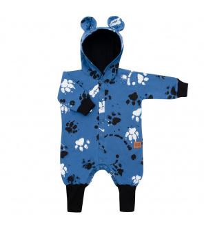 Kojenecký bavlněný overal s kapucí a oušky New Baby Paw modrý