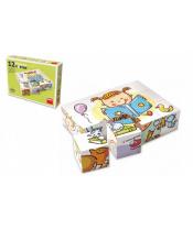 Kostky kubus Hezký den dřevo 12ks v krabičce 16,5x12x4cm