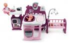 Smoby Domeček pro panenku Violette Baby Nurse Large Doll's Play Center trojkřídlový s 23 doplňky kuchyňka koupelna ložnice