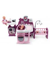Smoby SM220349 Domeček pro panenku Violette Baby Nurse Large Doll's Play Center trojkřídlový s 23 doplňky (kuchyňka, koupelna, ložnice)